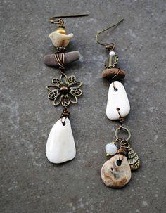 Asymmetrical earrings Tribal earrings Beach wedding Organic