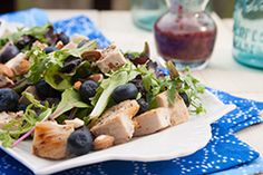 Grilled Chicken Blueberry Salad with a sweet blueberry dressing -- absolutely delicious. Get the recipe from our newsletter.