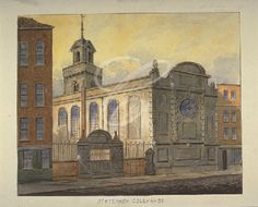 St Stephen, Coleman Street.  This was the Keats family church in the City of London. One of the lost Wren churches, destroyed in the Blitz. A watercolour painted in 1815, three years before Keats buried his 19-year-old brother Tom here.