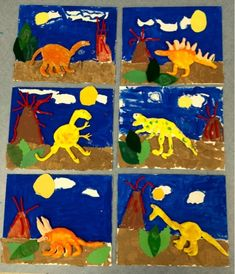 2nd grade- dinosaurs- mixed media- clay/canvas board/paper/yarn-Art with Mr. Giannetto blog