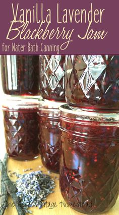 Vanilla Lavender Blackberry Jam ⋆ One Acre Vintage & Pumpkin Patch Mtn. – Food for Healty Lavender Jam, Lavender Fields, Blackberry Jam Recipes, Blackberry Freezer Jam, Homemade Blackberry Jam, Can Jam, Lavender Recipes, Jelly Recipes, Drink Recipes