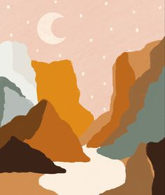 Canyon Moon Digital Art Drawing Wallpaper