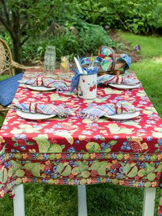 Fruit Medley Tablecloth - Red | Table Linens & Kitchen, Tablecloths ...