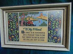 Vtg Art Deco Friend MOTTO PRINT Original Frame Art Print Castle Birds Flowers