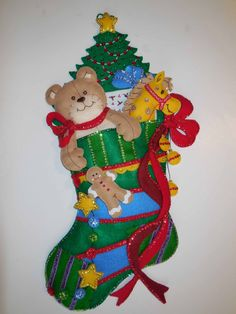 Made from a 2006 Bucilla kit, this stocking wall hanging measures 25 x It can be used as a stocking by simply removing the teddy bear, horse Christmas Stuff, Christmas Ideas, Christmas Decorations, Christmas Ornaments, Holiday Decor, Christmas Stocking Pattern, Christmas Stockings, Felt, Teddy Bear