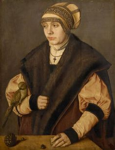 """""""Bildnis einer Frau mit Papagei"""" (Portrait of a woman with parrot), Barthel…"""