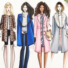 Obsessed with my new pink coat from -- Holly Nichols Illustration Fashion Artwork, Fashion Design Drawings, Fashion Wall Art, Fashion Figures, Fashion Models, Girl Fashion, Fashion Illustration Sketches, Fashion Sketches, Chica Cool