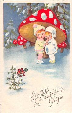 064  children  happy new year holiday mushroom