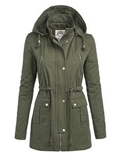 MBJ Womens Quilted Anorack Jacket with Hoodie M OLIVE
