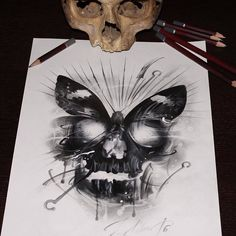 #moth #skull #drawing by @priitsalusoo