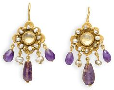 A pair of Byzantine gold, pearl, amethyst and rock crystal earrings, circa century AD Byzantine Gold, Byzantine Jewelry, Renaissance Jewelry, Medieval Jewelry, Ancient Jewelry, Antique Earrings, Antique Jewelry, Gold Jewelry, Vintage Jewelry