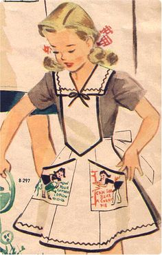 - Girl Scout Aprons 1943 - 1944 by vintage girlscout online museum Vintage Apron Pattern, Retro Apron, Aprons Vintage, Vintage Sewing Patterns, Vintage Jumper, Apron Patterns, Stephane Rolland, Vintage Girls, Vintage Outfits