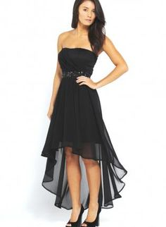 Black Chiffon Strapless Drop Back Dress with Jewel Embellish, Dress, strapless dress asymmetrical hem, Chic