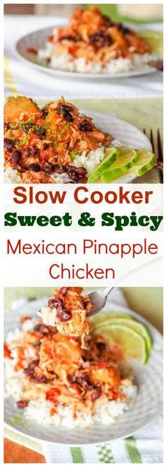 Only six key ingredients and a handful of spices required for this one pot low fuss slow cooker spicy Mexican pineapple chicken. The perfect balance of sweet and spicy all at once with tender shredded chicken and hearty black beans. Gluten Free and Dairy Free too.