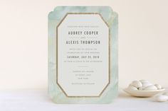 """""""Gratitude"""" - Abstract, Modern Foil-pressed Wedding Invitations in Mint by Elly."""