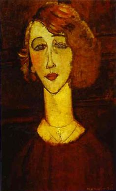 Lalotte. 1916. Oil on canvas. 55 x 35.5 cm. Musée National d'Art Moderne Centre Georges Pompidou, Paris, France  The swan-necked woman portrait by Modigliani is easily identifiable. Most of them were lovers while, some were paid models.