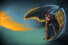 Drawing about the book Fallen by Lauren Kate Serie Fallen, Fallen Saga, Fallen Book, Beautiful Pencil Sketches, Lauren Kate, Hidden Figures, I Believe In Angels, Angels In Heaven, Heavenly Angels