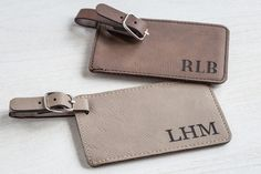 Shop now: Travel in style with a monogrammed luggage tag by Lifetime Creations. The vegan leather bag tag is laser engraved with your initials and has a removable identification card. Makes a great personalized gift and stocking stuffer. Monogrammed Luggage Tags, Custom Luggage Tags, Luggage Tags Wedding, Leather Luggage Tags, Passport Cover, Personalized Tags, Leather Material, Travel Accessories, Vegan Leather