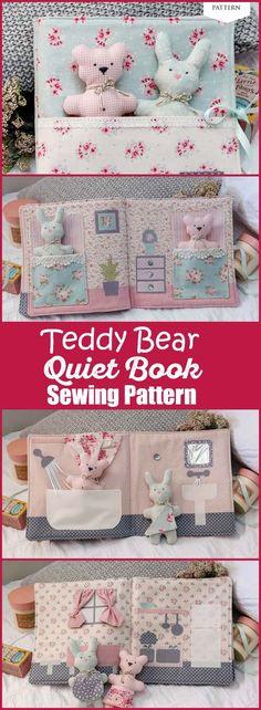 45 Super Ideas Sewing Toys For Baby Diy Quiet Books Sewing Patterns For Kids, Sewing Projects For Beginners, Sewing For Kids, Diy For Kids, Gifts For Kids, Sewing Ideas, Bear Patterns, Pattern Sewing, Sewing Hacks