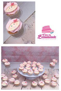 Babyshower cupcakes (kraamfeest) voor een meisje. Heerlijk gevuld met aardbeien jam en opgespoten met een roze creme en gedecoreerd met een baby girl.