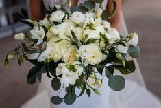 Flowers by Sisters Floral Design Studio www.sistersflowers.net Image by Lewis & Oak Photography #sistersfloraldesignstudio #weddingflowers #bridalbouquet #whiteroses #whiteivory Bridesmaid Bouquet, Wedding Bouquets, Bridesmaids, Wedding Flowers, White Roses, Floral Design, Floral Wreath, Sisters, Ivory