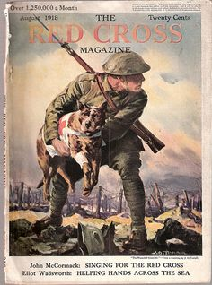 """1918 Red Cross Magazine cover with """"pit bull"""" dog."""