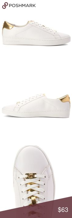 Michael Kors, Irving Lace Up fashion Sneakers MICHAEL Michael Kors   Womens Irving Lace Up fashion Sneakers. Optic/pale. *** I will post the original photos shortly*** great condition ! Embellished leather sneakers MICHAEL Michael Kors Shoes Sneakers