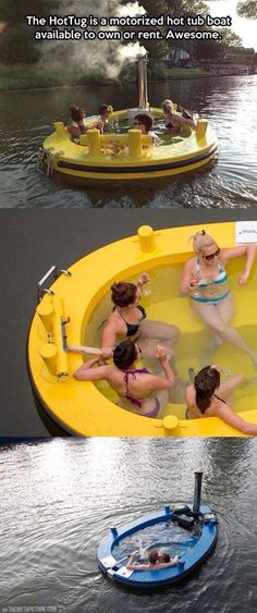 This would be so stinking fun at Lake Powell (at night, not during the day) The boys can get a Blob and us girls can get a hot tug! The HotTug is a motorized hot tub boat available to own or rent. SHUT UP AND TAKE MY MONEY! Jacuzzi, My Pool, Take My Money, Cool Inventions, Plein Air, Outdoor Fun, Outdoor Gear, Cool Gadgets, The Great Outdoors