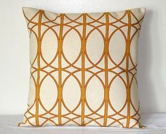 Cream and Gold Richloom Geometric Art Nouveau 18 or 20  inch Decorative Pillow Accent Pillows Throw Pillow Cushion Cover