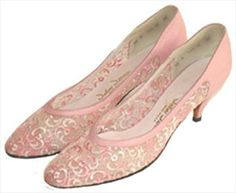 Pink Sheer Embroidered  60s Shoes