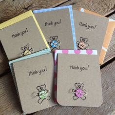 Teddy Bear Baby Thank You Cards in Blue, Pink or gender neutral - set of 6. $12,00, via Etsy.