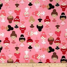 Girl Friends Bubble Gum, ballerina fabric, Anne Kelle for Robert Kaufman via fabric.com