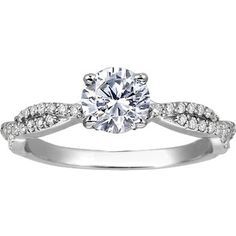 18K White Gold Twisted Vine Diamond Ring (1/4 ct.tw.) with 0.30 Carat Round Diamond- Brilliant Earth