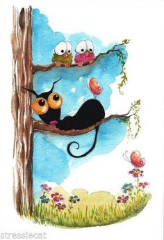 Original-watercolor-painting-art-black-cat-summer-tree-birds-flowers-butterfly