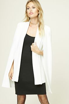 Contemporary Padded Cape Blazer - Women - New Arrivals - 2000195060 - Forever 21 EU English Types Of Blazers, Types Of Jackets, Blazers For Women, Anniversary Outfit, Putting Outfits Together, Pixie Styles, Cape Coat, Online Clothing Stores, Store Online