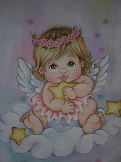 Anjinhos T Shirt Painting, Belly Painting, Fabric Painting, Cute Images, Baby Images, Childhood Characters, Boy Drawing, Angel Pictures, Color Pencil Art