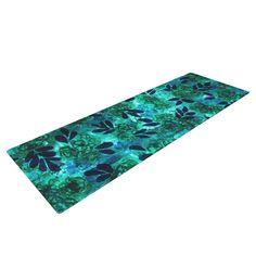 "Ebi Emporium ""Grunge Flowers III"" Teal Floral Yoga Mat"