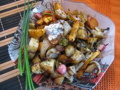 Roasted Root Veg with fresh herbs and coconut cream.   Rutabaga fries x 2 small Red potatoes x 2 medium Radish x 2 Onion 1 whole,sliced med thick small handful of sliced mushrooms same for broccoli tops and fresh beans 5 strands of chives (chopped) teaspoon of dill,basil and black pepper  coconut oil to bake with and canned coconut whipped cream for topping. No salt needed with this recipe. Stuffed Mushrooms, Stuffed Peppers, Coconut Whipped Cream, Coconut Oil, Small Red Potatoes, Fresh Herbs, Strands, Broccoli
