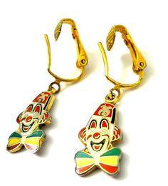 Vtg Shriner Clown Face Earrings Enamel Paint Clip Back Red Yellow Green Bow Tie