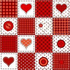 Patchwork Coração Botão DESENHO 4265-01 Tricoline 100% Algodão (0,50 compr. x largura 1,50m)