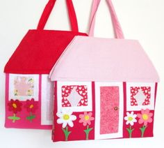 travel toy doll house handmade quiet book fun by KnotAPaperdoll, $49.95
