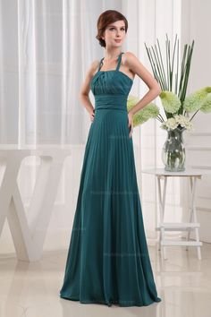 Pleated Chiffon With Empire Waist Floor-Length Women Dress