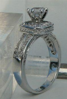women high quality CZ wedding ring sets | Vintage Halo CZ Cubic Zirconia Bride Engagement Band Wedding Ring sets