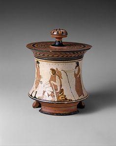 Terracotta pyxis (box) Attributed to the Penthesilea Painter Period: Classical Date: ca. 465–460 B.C. Culture: Greek, Attic Medium: Terracotta; white-ground