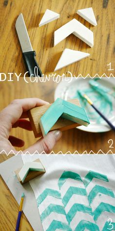 DIY: stamped chevron scarf, or anything else. I am obsessed with chevron print! Foam Crafts, Arts And Crafts, Diy Crafts, Craft Foam, Diy Projects To Try, Craft Projects, Do It Yourself Fashion, Fabric Stamping, Diy Inspiration