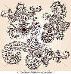 EPS Vector of Henna Doodles Mehndi Tattoo Designs - Hand-Drawn ...