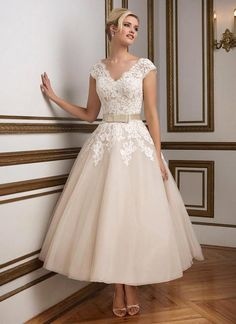 New Arrival Elegant Cap Sleeve V Neck A Line Tea Length Short Wedding Dresses 2016 Lace Applique Organza Bridal Gown With Sashes-in Wedding Dresses from Weddings & Events on Aliexpress.com   Alibaba Group