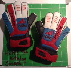 Goalie gloves cake from Cakes By Nicky Goalie Gloves, Football Gloves, Cakes For Boys, Boy Cakes, Soccer Birthday Parties, Football Cakes, Sneakers, Cake Ideas, Deserts