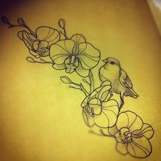 Bird with Orchids