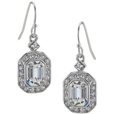 Carolee Emerald Glass Cut Drop Earrings ($44) ❤ liked on Polyvore featuring jewelry, earrings, rectangle earrings, drop earrings, special occasion jewelry, evening jewelry and sparkle jewelry